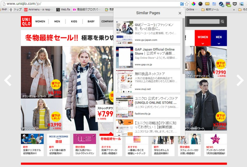 Google Similar Pagesの例