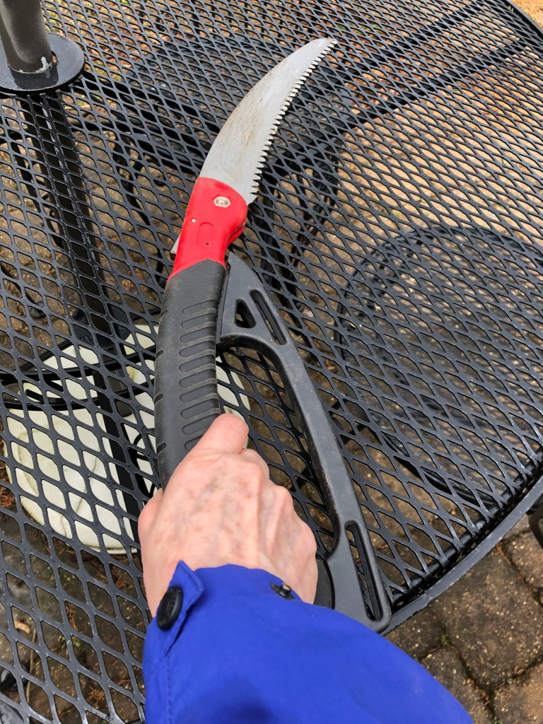 Short pruning saw with black hand, red hinge, and curved blade