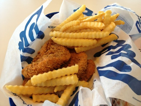 """Culvers Buffalo chicken strips and fries - a rare """"treat"""""""