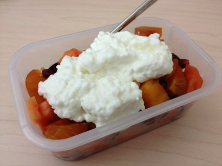 Papaya, pommegranate, and cottage cheese
