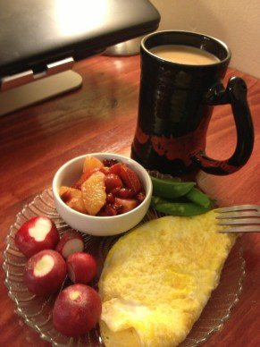 Omelette with veggies and fruit salad and a good cup of coffee