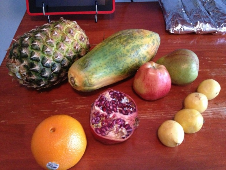 Fruits for the salad, love those guavas