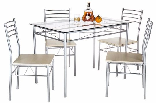 #1 VECELO Dining Table with 4 Chairs - Silver