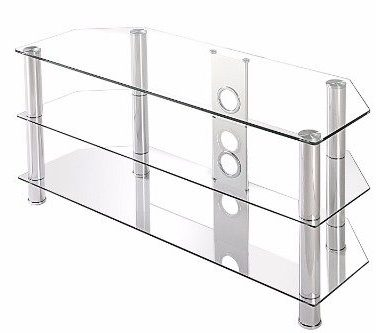 Fitueyes Classic Clear Tempered Glass Tv Stand