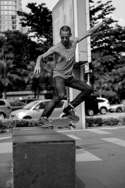 Tommy jumping at the Ampang LRT Station in Kuala Lumpur - Malaysia