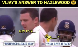 VIDEO: Watch Vijay's Hilarious reply when Hazlewood tries to sledge Him