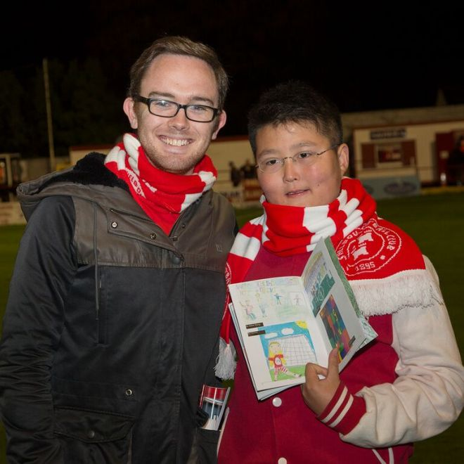 Adam Zheng, one of the winners of the drawing competition, with Trust PRO Niall Farrell