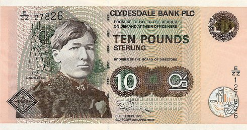 Clydesdale Bank £10 note
