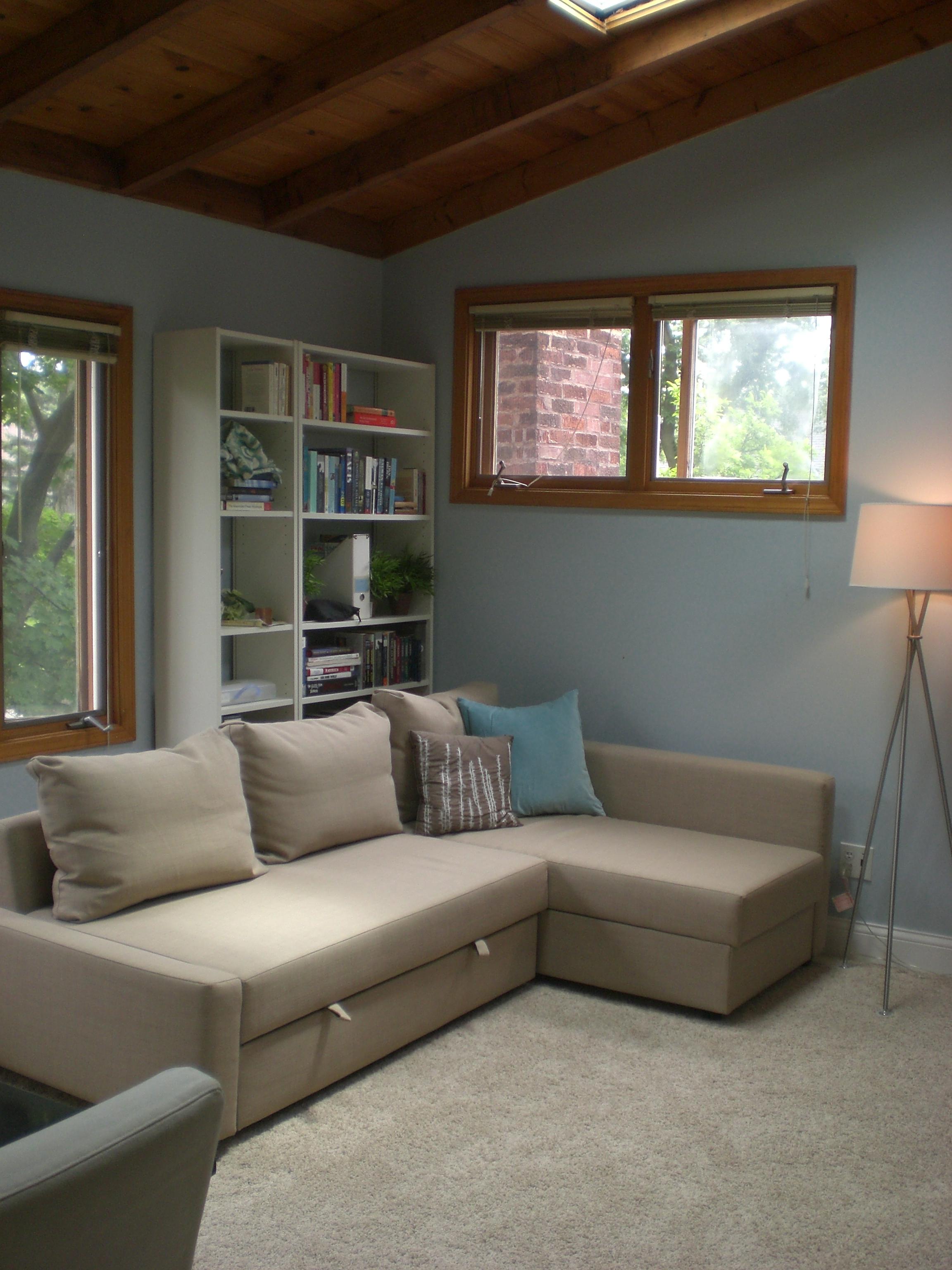 overhead sofa floor lamp refurbish leather cushions buh-bye yellow!