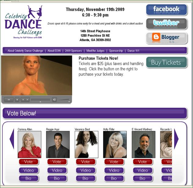 Celebrity Dance Challenge Website