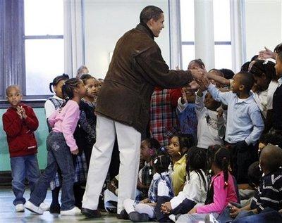 President-elect Obama greets school children