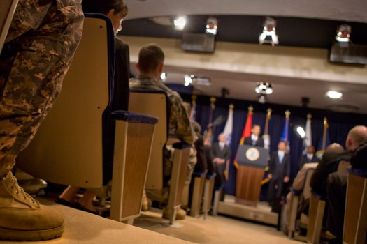 President Barack Obama presents new proposals to care for veterans to an audience of Wounded Warriors in the Eisenhower Executive Office Building on 4/9/09.