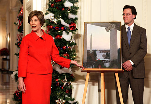 Laura Bush introduces Christmas card artist T. Allen Lawson and his work during a media preview in 2008.