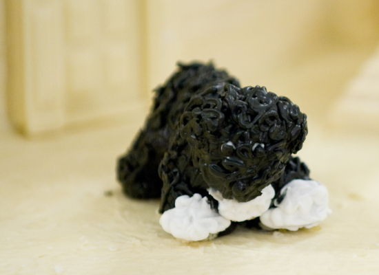 A miniature Bo, the Obamas' dog, a part of the official White House gingerbread house