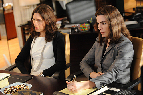 """Actors Jessica Hecht and Julianna Margulies in an episode of CBS' """"The Good Wife"""""""