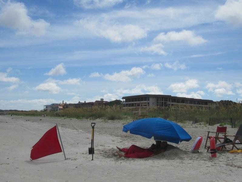 Red beach flag