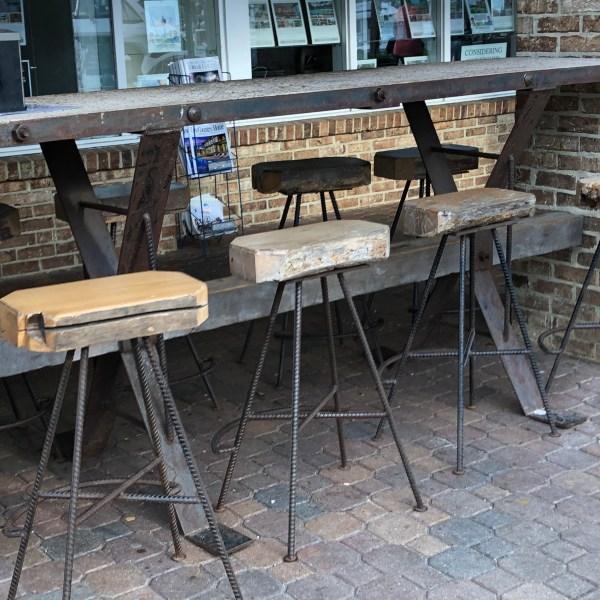 Rustic cafe seats