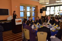 Keri Potts, ESPN Director of Communications for College Sports, made a presentation and showed a video during the FWAA Annual Awards Breakfast. ESPN is the sponsor of the breakfast. (Photo courtesy of Rose Bowl)