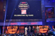 Desmond Howard, Chris Fowler, Lee Corso and Kirk Herbstreit on stage during the College Football Awards Show. (Photo by Phil Ellsworth / ESPN Images)
