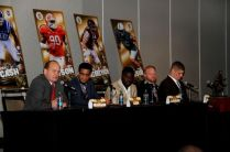 Bronko Nagurski Legends Award winner Randy Gradishar, Shaq Lawson of Clemson, Reggie Ragland of Alabama, Tyler Matakevich of Temple and Carl Nassib of Penn State take part of a forum with students from Charlotte area schools. Photo by Ron J.Deshaies/Treasured Events of Charlotte.