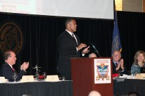 2015 Outland Trophy winner Joshua Garnett of Stanford addresses the audience at the presentation banquet. Photo provided by the Greater Omaha Sports Committee.