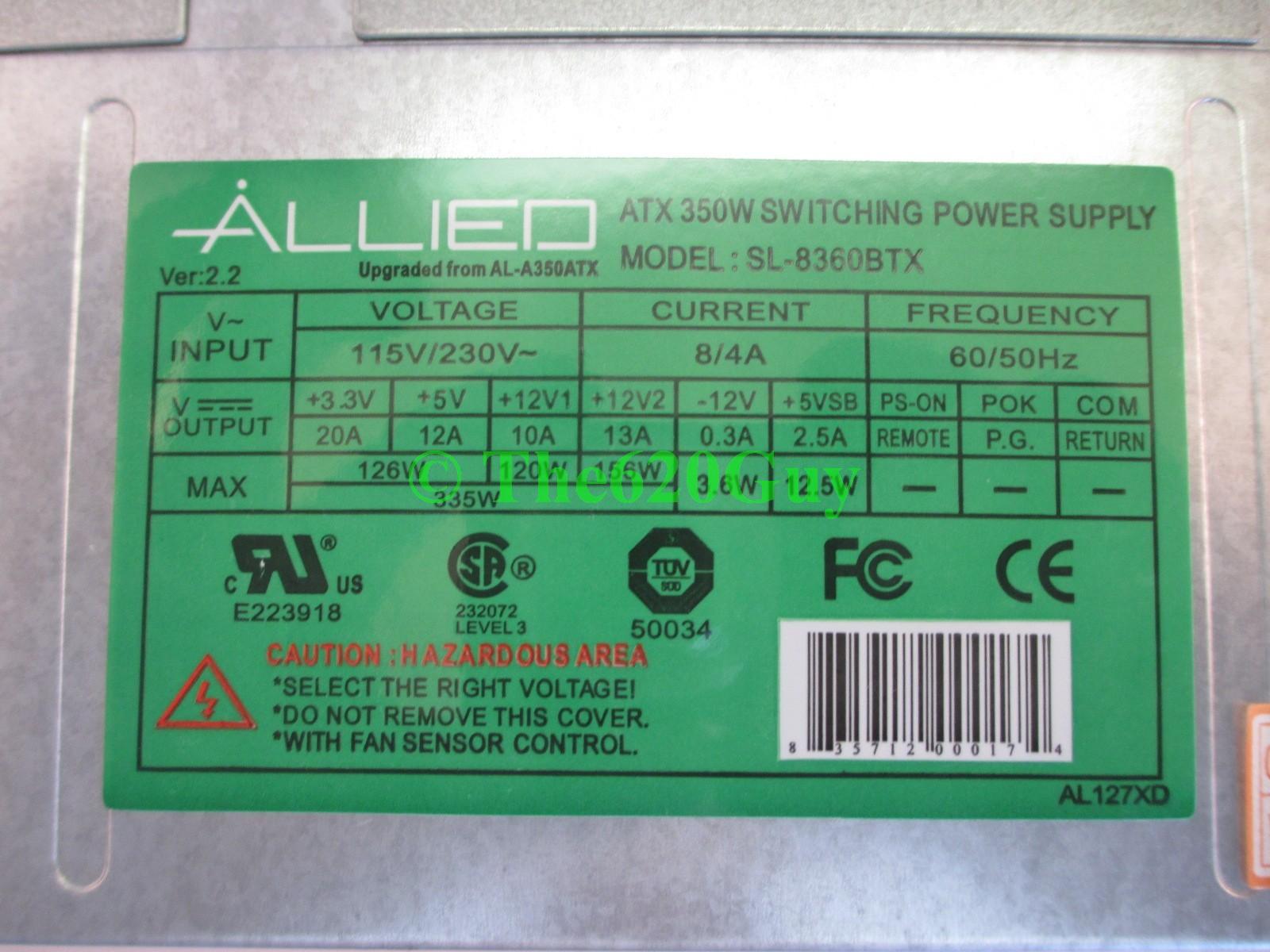 Allied Sl 8360btx 350w 350 Watt Atx12v Switching Power Supply 20 4 2