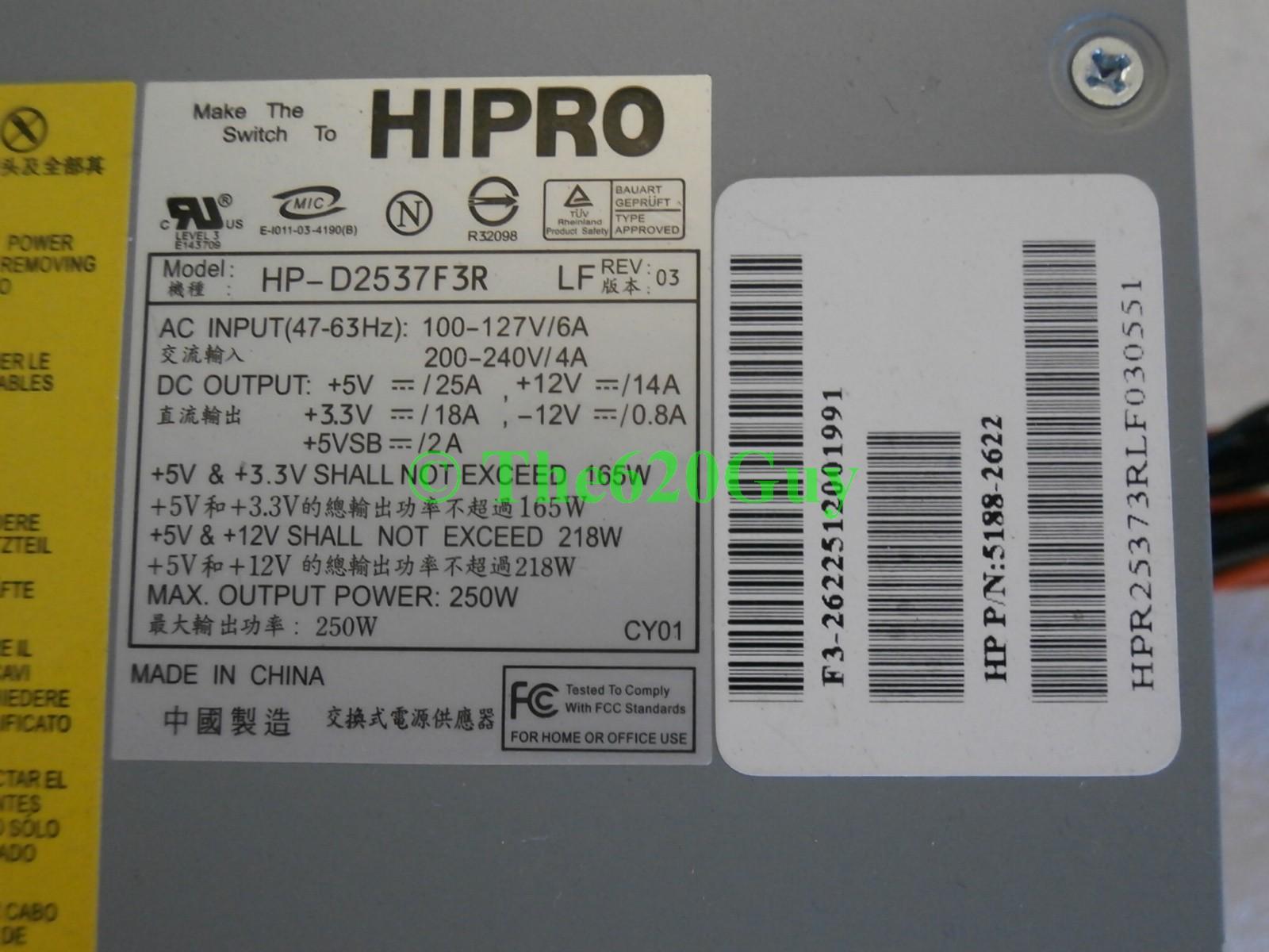 hight resolution of hp compaq 250w atx 20 pin 4 pin power supply 5188 2622 hipro hp d2537f3r lf