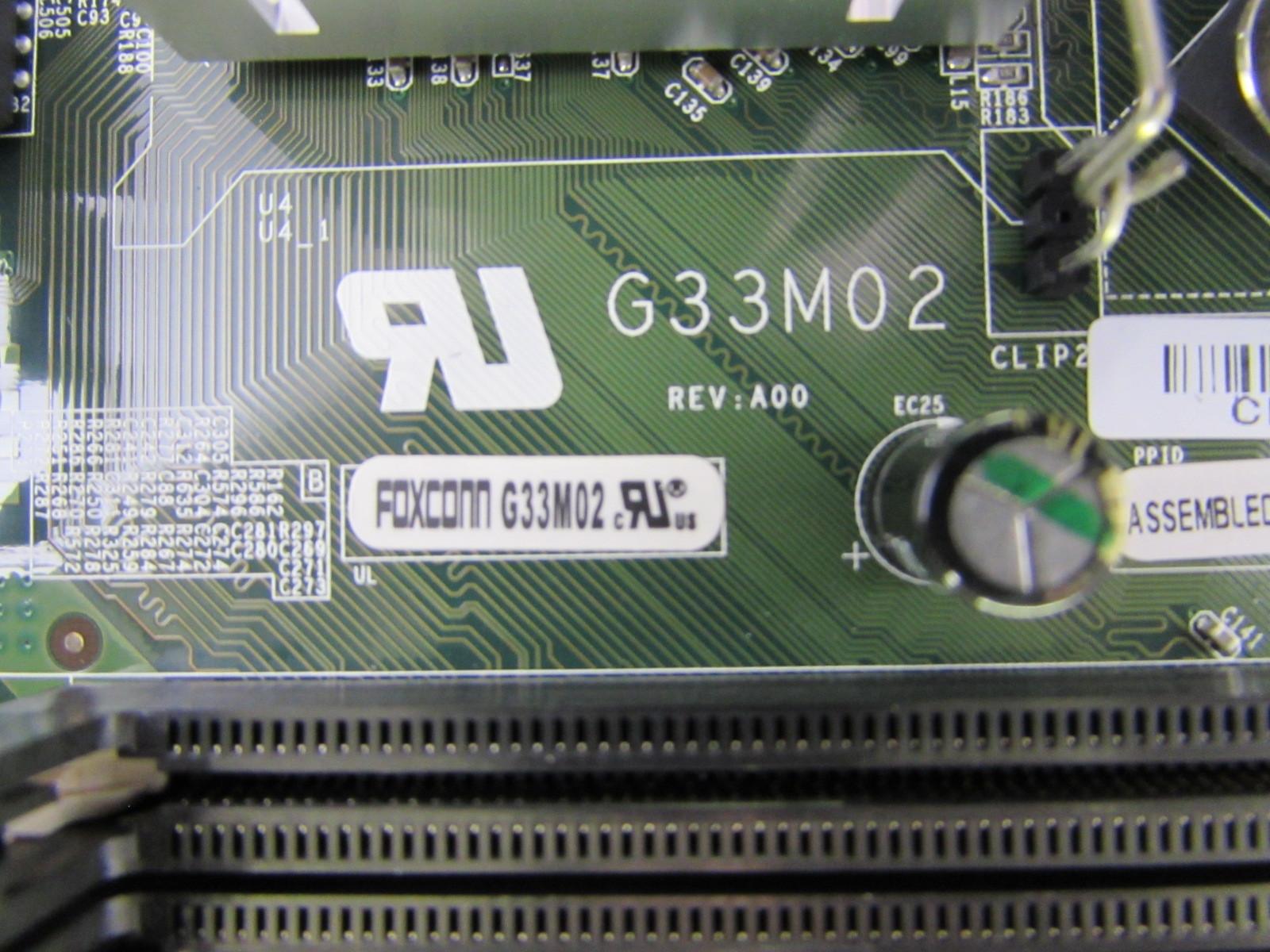 Dell Inspiron 530s G33m02 G33 Motherboard Ry007 Core 2 Duo E8200 Lga G31 Ddr2