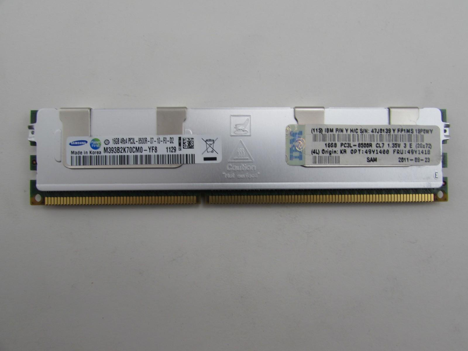 Ibm 49y1418 16gb Pc3 8500r Ddr3 1066 Ecc Reg Server Memory Samsung 12800r Rdimm M393b2k70cm0