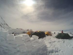 Snow walls seemed to be mandatory at High Camp