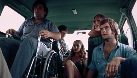 The film's four victims and its final girl in their van