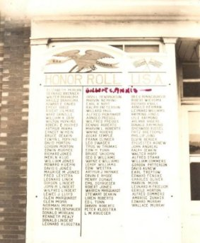 "Pvt. Annis has added his name to this postcard showing the honor roll at Camp Phillips. ""Gilbert C. Annis-"""