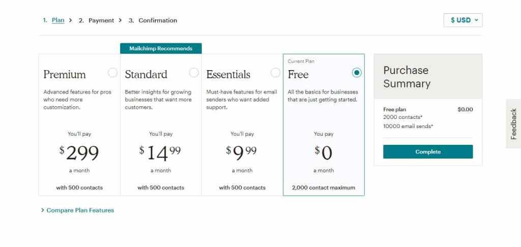 créer un compte gratuit mailchimp