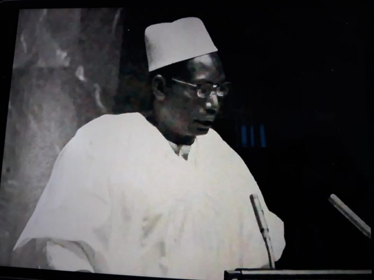 The emir's father, H.E. Nuhu Bamalli, addressing UN General Assembly in 1965 as Nigerian Foreign Affairs Minister