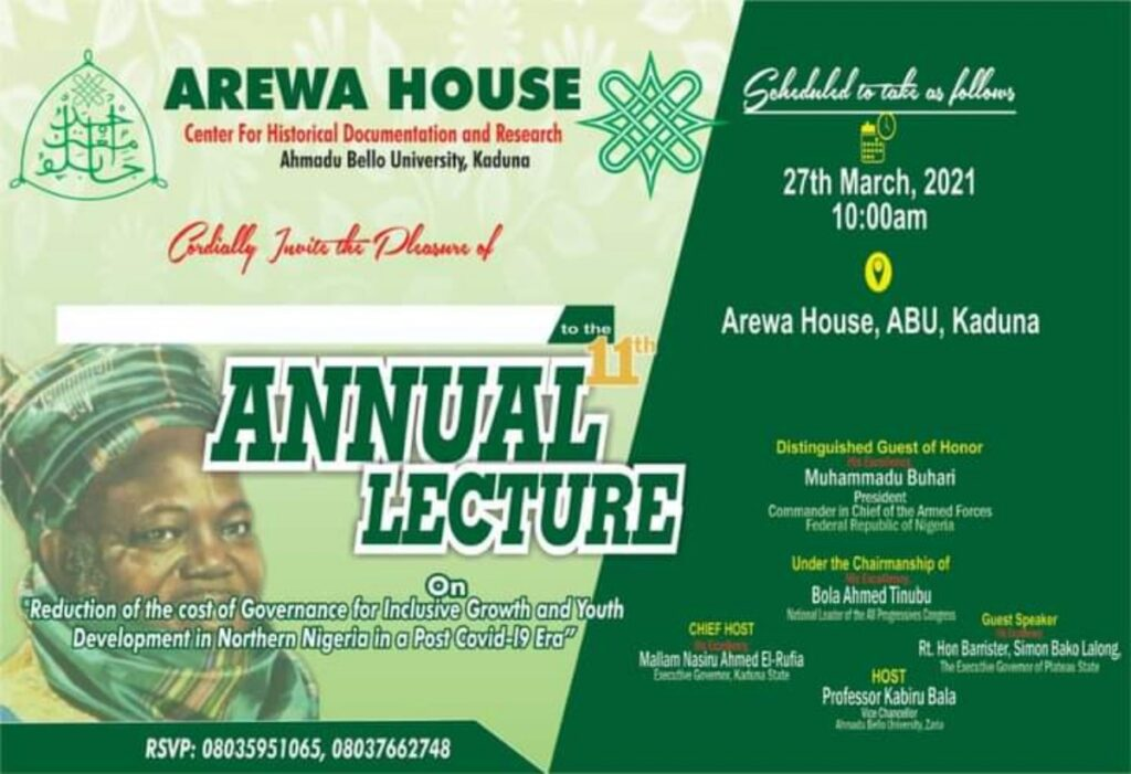Tinubu to Chair 11th Annual Arewa House lecture