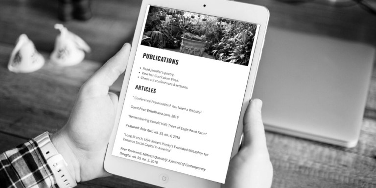 Academic website publications page example on tablet
