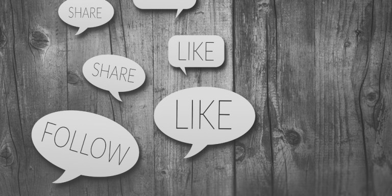 "Speech bubbles that say ""follow,"" ""like,"" and ""share"""
