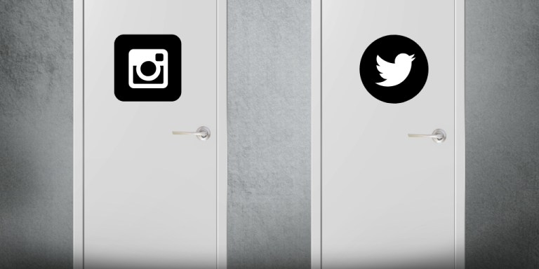Doors with Instagram and Twitter symbols on them