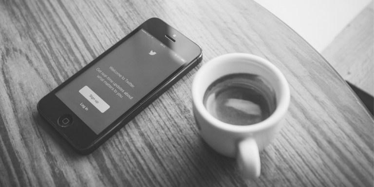 Twitter login screen and coffee