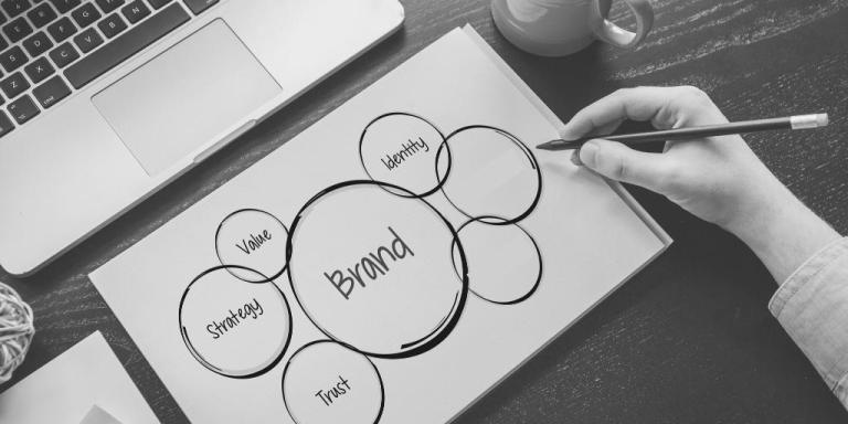 Venn diagram with branding, strategy, value, identity, and trust around it