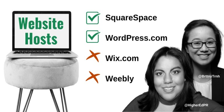 Website Hosts Infographic: SquareSpace and WordPress.com are good. Wix.com and Weebly are bad.