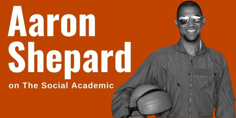 Aaron Shepard on The Social Academic blog header, photo of Aaron in a flight suit