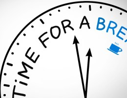"""A graphic of a clockface that reads """"time for a break."""""""