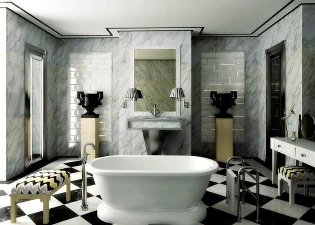 lorenzo castillo black and white bold bathroom floor