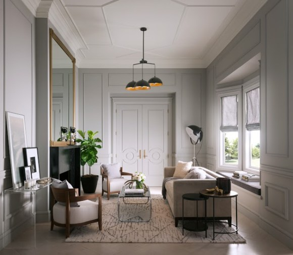 """With the addition of moldings you can create your own """"room story."""" #moldings #architecturaldetail #livingrooms #metrie"""