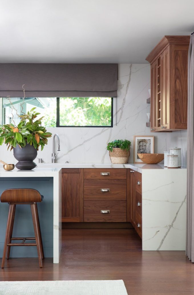 kitchen, marble counters, drop in sinks, dark hardwood floors, recessed lighting, wood cabinets, stone slab backsplashes