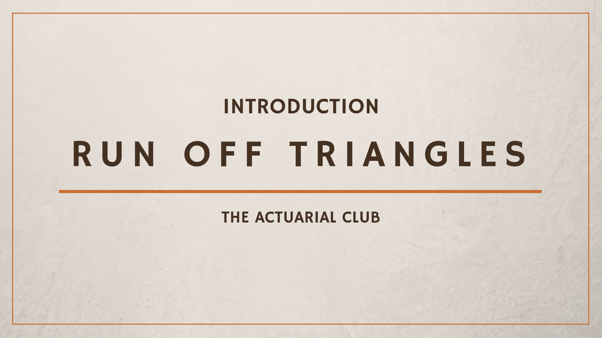 Introduction of Run Off Triangles in Reserving