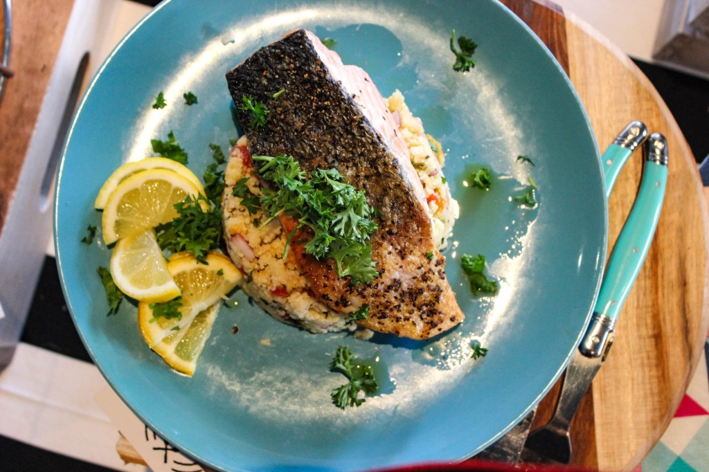 Grilled Barramundi with Mediterranean Quinoa Salad
