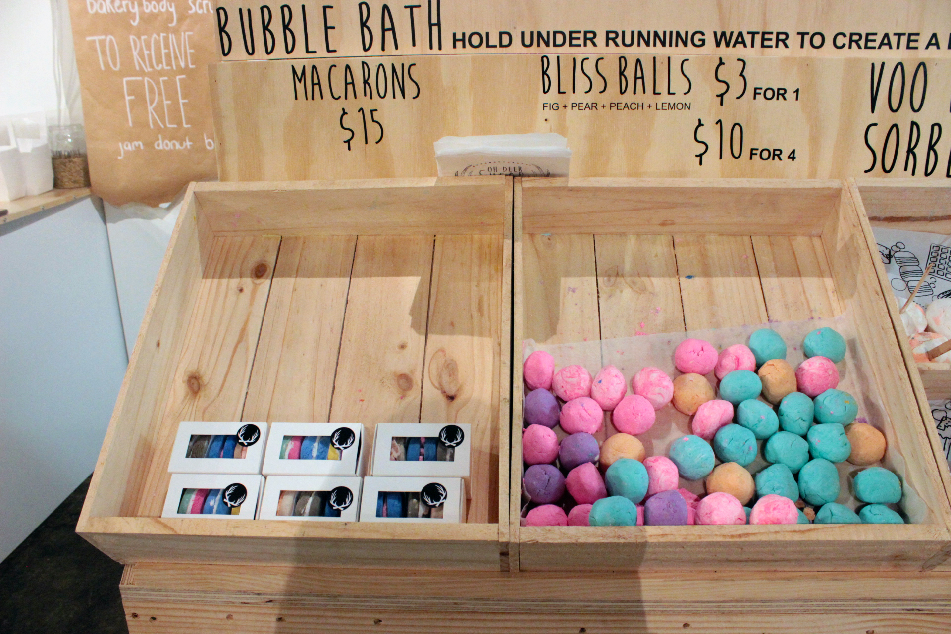 Three piece macaron bubble bar sets and bliss balls