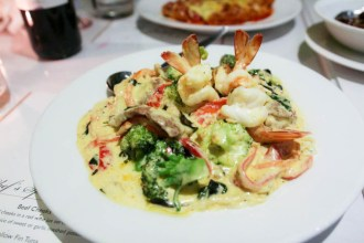 A daily special; veal and prawns